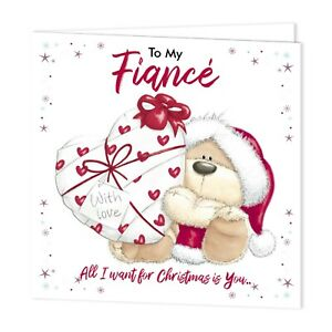 PERSONALISED CHRISTMAS CARD FIANCEE-FIANCE FIZZY MOON BEAR GIFT WRAPPED HEART
