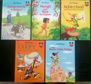 5 x DISNEY HARDBACK STORY BOOKS - ALL DIFFERENT (FROM GROLIER SERIES) - (Lot 3)