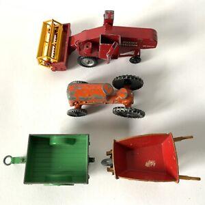 Vintage Matchbox Dinky Toys Farm Vehicles Combine Harvester Tractor Wheelbarrow