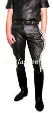 Lederhose weiße Streifen Stiefelhose neu Breeches Motorradhose leather pants new