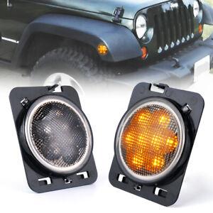 2x Front Fender LED Side Marker Light Smoke Lens for 07-18 Jeep Wrangler JK JKU