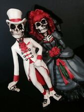 Love Never Dies Wedding Skeleton Cake Topper-Groom-Bride Halloween Party-Statue