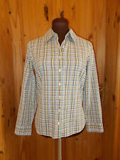 LANDS' END white green blue brown check 3/4 sleeve blouse shirt top XS 8 36