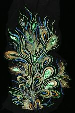 """24"""" Green Sequins Peacock Bird Feather Appliqué Sewing Crafts Trim"""