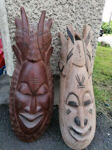 2 x Afrikanische Wandmaske Holz Maske Skulptur