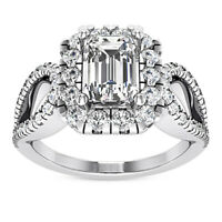 Certified 2.02 Carat Emerald Cut I/VVS2 100% Natural Diamond Ring White Gold
