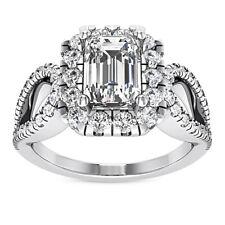 Certified 1.55 Carat Emerald Cut G/VVS2 100% Natural Diamond Ring White Gold