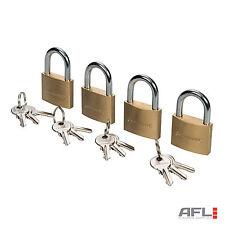 4 Piece Brass Keyed Alike Security Padlocks Set 40mm - 3 Keys Per Padlock
