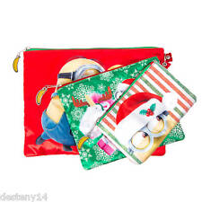 Despicable Me Minions Holiday Zippered Pouches Set of 3 NWT