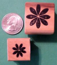 Flower Blossom Stencil Set - Set of (2) Wood Mounted Rubber Stamps
