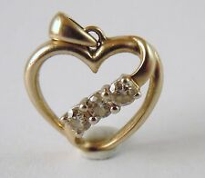 100% Genuine Vintage 10k Solid Yellow Gold Heart Outline Pendant with 0.09ct Dia