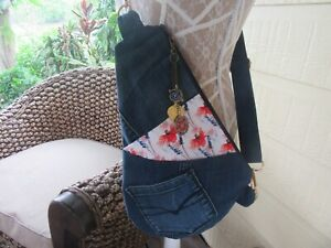 Women's Ladies Crossbody Shoulder Bag - Recycled Denim front pockets Navy Strap