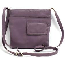 Tula Womens Leather Shoulder Messenger Bag Purple Lilac Colour