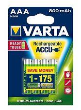 4 pile batterie ministilo ricaricabili AAA  VARTA 800 mAh R03 pronte all' uso