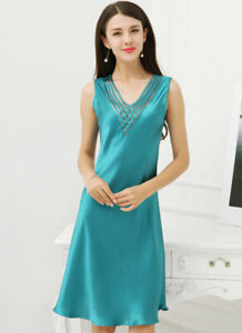 Pure Silk Womens Sleeveless Sleepwear Slips