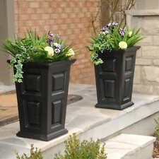 Planters w Self Watering Tray Insert Wyndham Tall Planter Indoor Outdoor Set/2