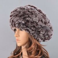 Women Winter Rabbit Fur Hat Causal Warm Knitted Beret Caps Fashion Outdoor Large