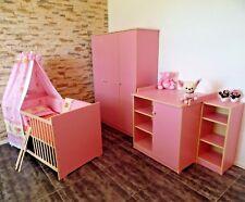 Chambre de Bébé Complet Lit Lot 5 Couleurs Armoire Commode Étagère Rose Blanc