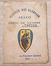 Congo Carte de membre du ABAKO , Alliance des Bakongos , Parti de Kasa-Vubu 1959