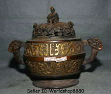 "10.4"" Marked Old Chinese Purple Bronze Gilt Dynasty Dragon Incense Burner Censer"