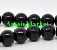 50 x beads glass black loose round jewelry jewellery necklace bracelet 8mm craft