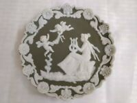 Vintage green jasperware wall plaque; lady with cherubs