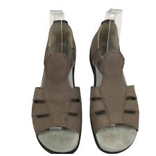 HOTTER Ladies Brown Nu-Buck Suede Low Wedge Comfort Sandals Uk 6