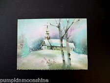 #J64- Unused Mid Century Glitter Christmas Greeting Card Chapel in Winter