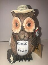 """I'd Rather Be Fishing Owl Figurine """"Call of the Wild"""" 7 1/2"""" Tall (EUC)"""