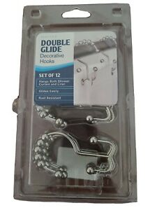 Maytex Metal Double Roller Set 12 Glide Shower Curtain Ring/Hooks Brushed Nickel
