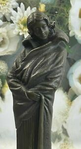 Bronze Sculpture Gorgeous Woman in Wind by Patoue Lost Wax Figurine Figure