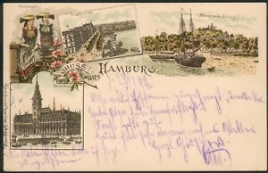 Postkarte Hamburg -Jungfernstieg, Blankenese Süllberg..., litho, 23.7.1897 RARE