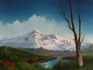 Chad Marshall Oil Painting Snow Capped Mountain Spring Lake Fishing Signed
