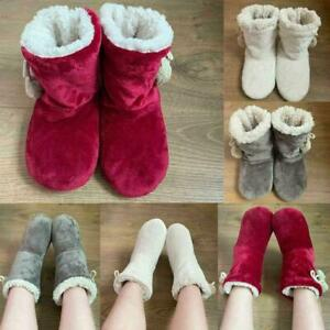 Ladies Womens Slippers Full Bootie Boots Faux Warm Thick Fur Memory R3V7 Sale