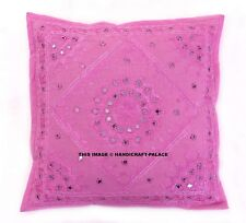 "16"" Indian Pink Cushion Cover Decor Sham Mirror Work Embroidered Cotton Throw"