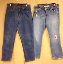 lot of 2 BILL BLASS Womens Denim Stretch Jean & Gap Boy Cut Straight 33 x 28.5 #