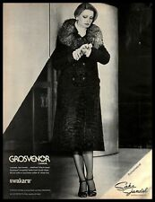 1976 Grosvenor Fur Coat Vintage PRINT AD Swakara Lamb Fox Fashion B&W 1970s