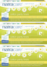 Natracare Ultra Thin Discreet Secure Organic Cotton Panty Liners. 3 Packs of 22