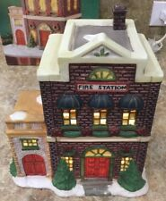 Vintage 1995 Trim A Home Premium Holiday Town Memories Lighted Fire Station