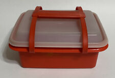 Tupperware Red Ice Cream Keeper Lunch Box Container Carry Handle 1255 Sheer Lid