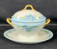 Antique Union Ceramique Limoges UC Condiment Bowl w/ Lid & Underplate 1938