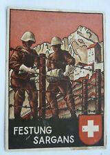 "Large WW2 Artist Card ""FESTUNG SARGANS"" Feldpost TERRITORIAL FUS.KP"