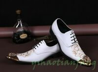 Men Pointed Toe Pront Metal Head Leather Dress Formal Shoes Wedding Lace Up Porm