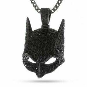 1.00 Ct Round Black Diamond Men's Batman Mask Pendant Real 925 Sterling Silver