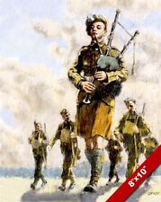 BAGPIPE SOLDIERS PAINTING IRISH BRITISH MILITARY HISTORY ART REAL CANVAS PRINT