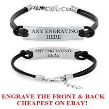 Engraved Personalised Custom Mens Leather Bracelet ID Birthday Wedding Dad Gift