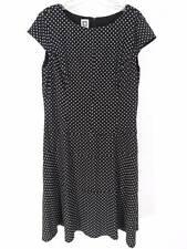 Anne Klein Dress Sz 16 Black & White Polka Dot A Line Flared Cap Sleeve Cocktail