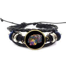 Braided Leather Strap Bracelets Savvy Labrador Neon Glass Cabochon