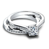 0.80 Ct Round Cut Real Diamond Engagement Ring 14K White Gold Band Set Size O P
