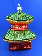 Travel China Chinese Pagoda Glass Blown Christmas Tree Ornament 011237
